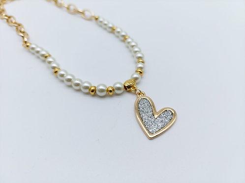 Collar de Corazón y perlas