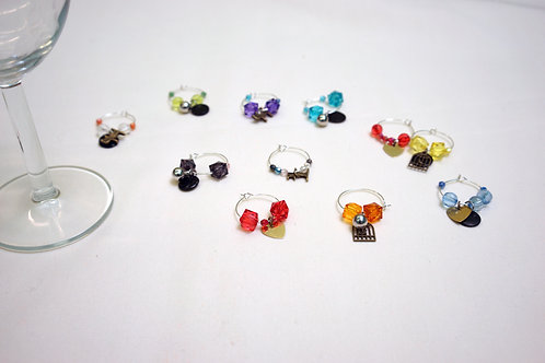 Wine glass charm party set (set of 48)