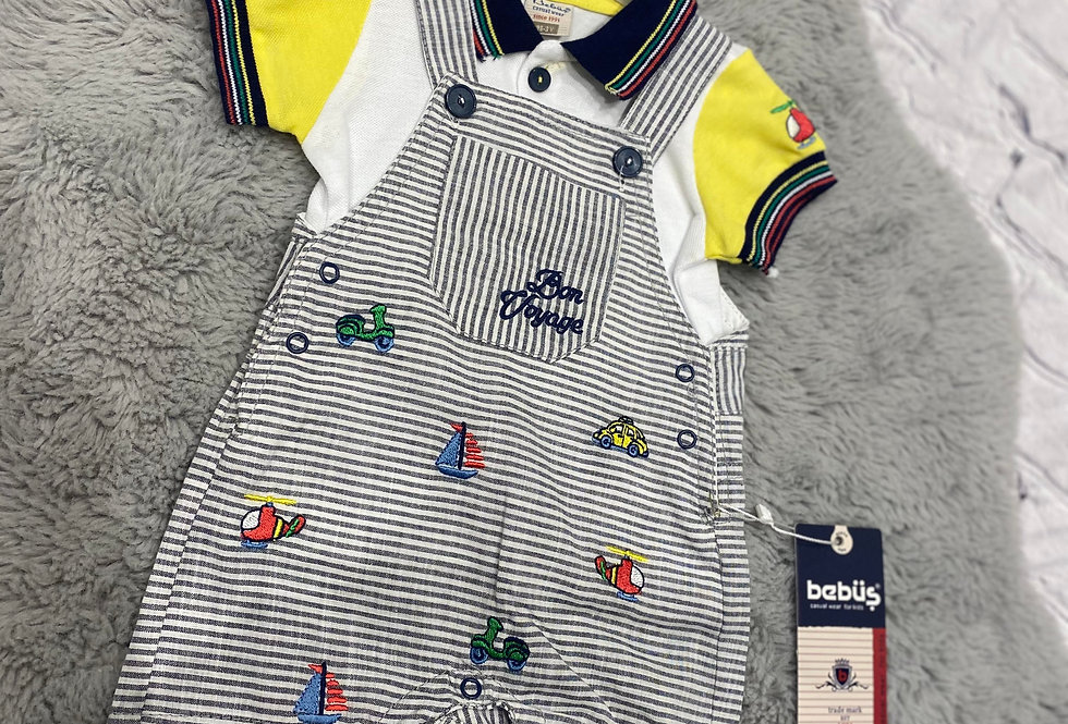 Baby Boys Two Piece Sailor Dungaree and T Shirt Set (Yellow)