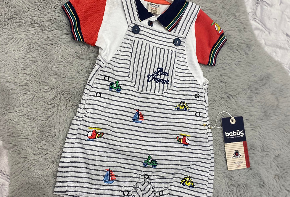 Baby Boys Two Piece Sailor Dungaree and T Shirt Set (Red)