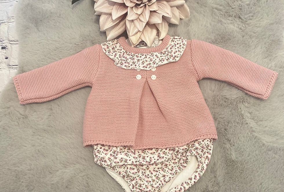 Dusky Pink,Floral Two Piece Set