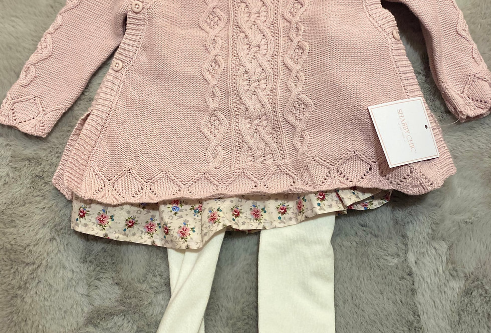 Shabby Chic Pink Floral, 3 Piece Set