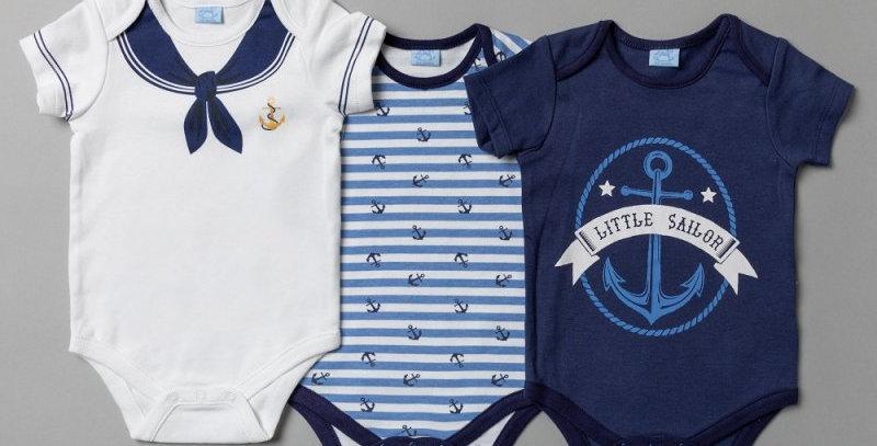 Baby Boys Sailor bodysuits (3 pack)