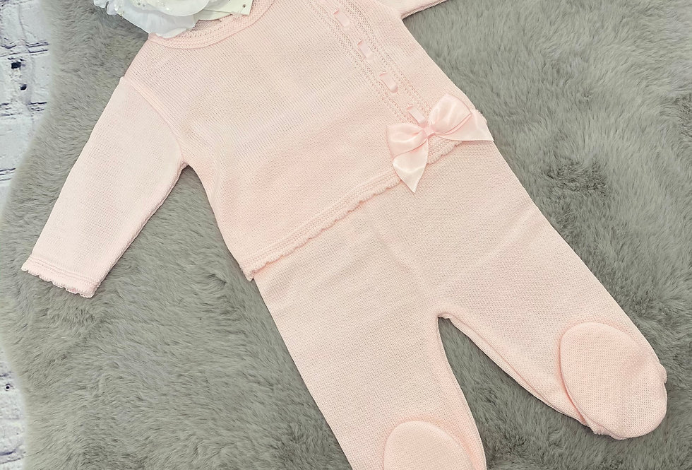 Girls Knitted Top & Trouser With Bow