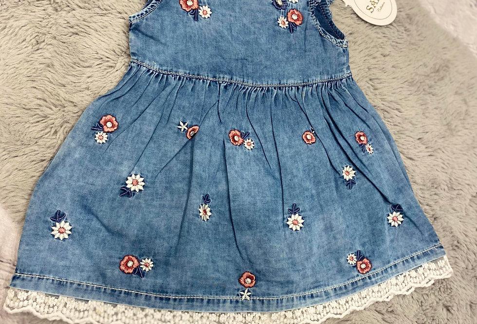 Baby Girls Trendy Flower Embroidered Denim Dress