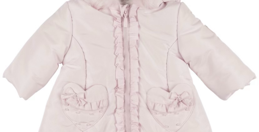 Mintini Pink Quilted Coat with heart pockets