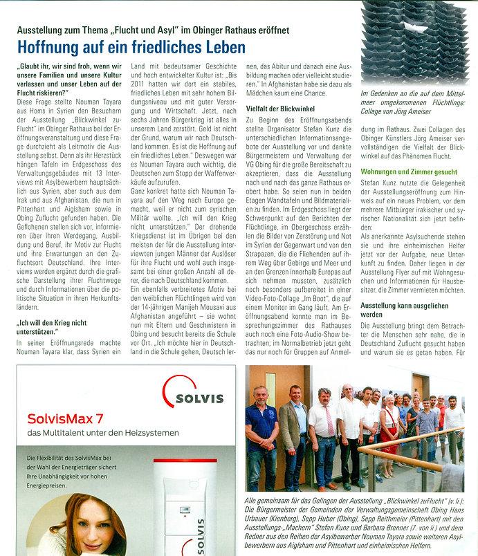 24.10.2016 Zeitungsartikel Blickwinkel