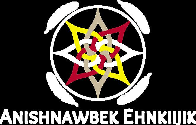 Anishnawbek Ehnkiijik logo white text an