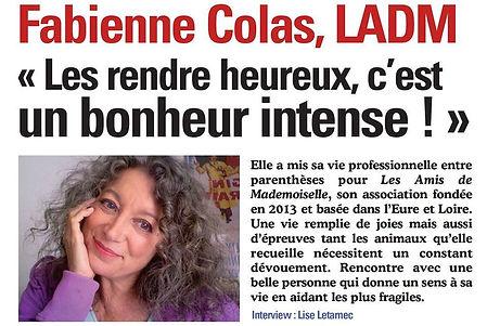 Article sur Fabienne Colas fondatrice de LADM dans le magazine Animaux Bonheur n°3