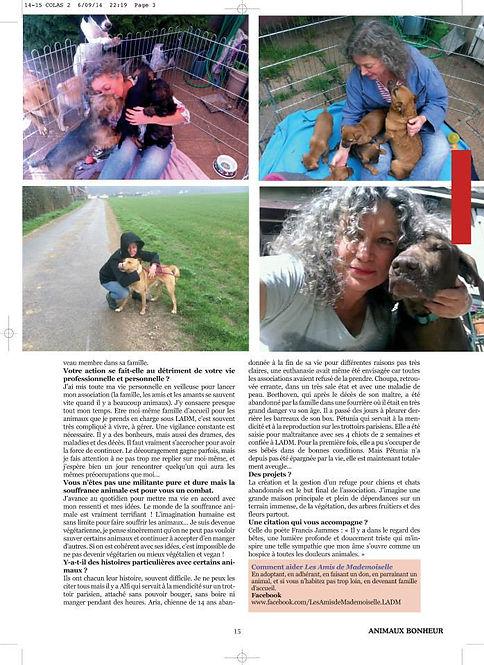 """Article sur Fabienne Colas LADM """"Les rendre heureux, c'est un bonheur intense"""" Magazine Animaux bonheur n°3"""