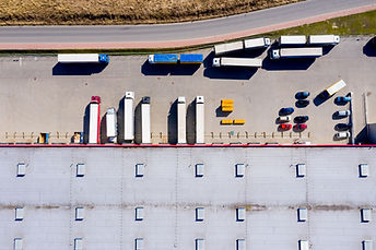 Aerial Shot of Truck with Attached Semi