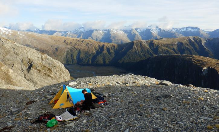 "Hut and camp life - ""Above sandflies"""