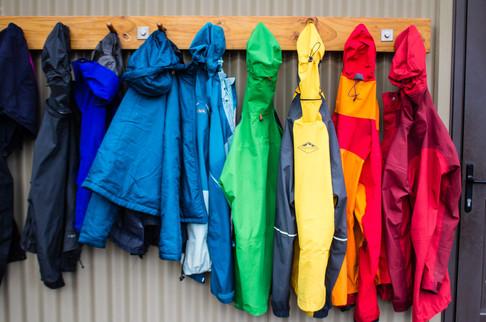 "Hut and camp life - ""Rainjacket Rainbow"""