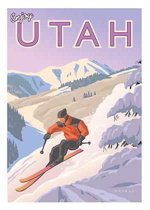 Utah Snow Skier 18 x 24 Poster