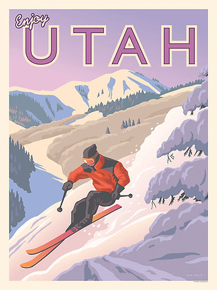 Utah Snow Skier Vinyl Sticker
