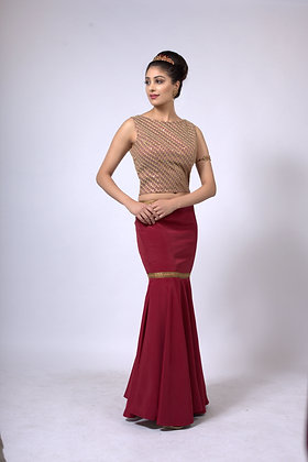 Maroon fishtail skirt with top and dupatta