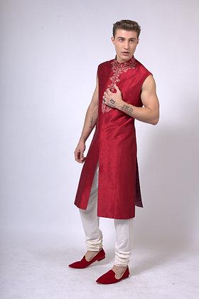 Men's sleeveless raw silk sherwani