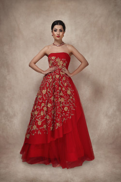 Red and Gold gown