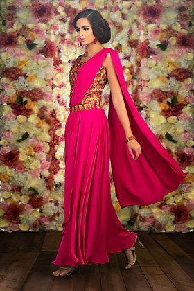 Pink draped saree gown