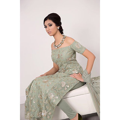 Olive green tunic with leggings and dupatta