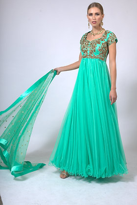 Green tulle gown with hand embroidery