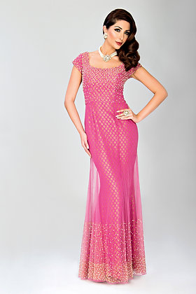 Pink net and brocade hand-embroidered gown