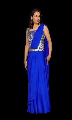 Royal blue pre-draped saree