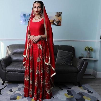 Red bridal lehenga dress