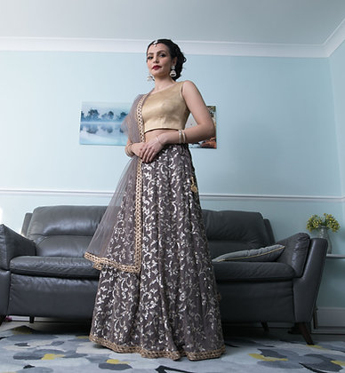 PB1 Sequined lehenga with gold blouse