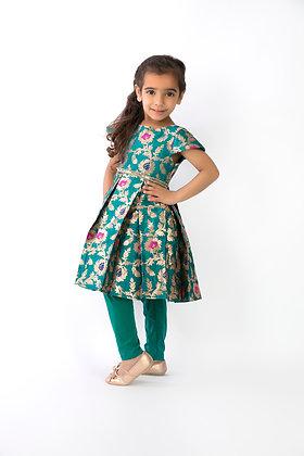 Turquoise silk brocade dress and leggings