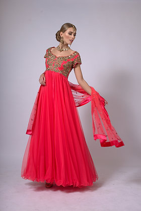 Coral tulle gown with hand embroidery