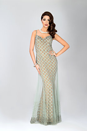Duck-egg blue brocade and net gown