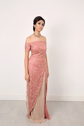 Rose gold gown with satin gold inset