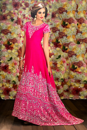 Raw silk gown with silver embroidery