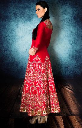 Red raw silk bridal gown