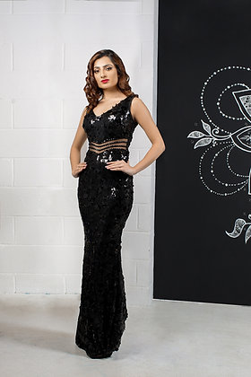 Sequin black pageant gown