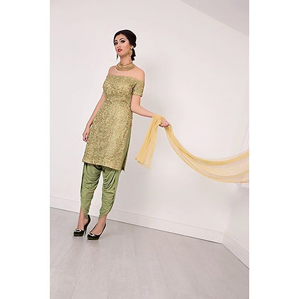 Gold and olive green dhoti kameez with dupatta
