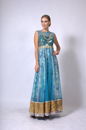 Blue floral anarkali gown