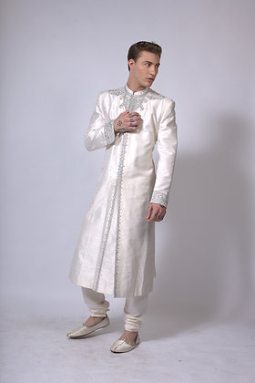 Mens white and silver raw silk sherwani