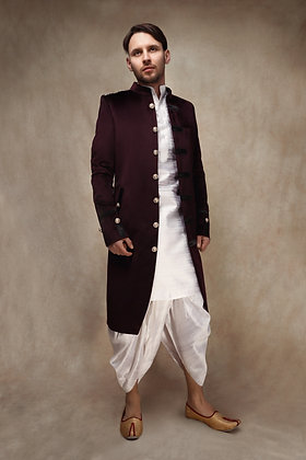 Plum Military Jacket with Dhoti