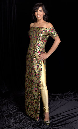 Brocade tunic with leggings and dupatta