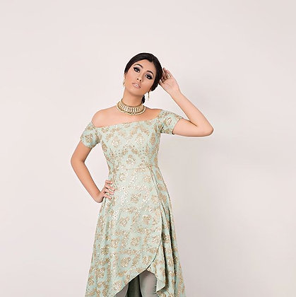 Offshoulder waterfall suit with dupatta