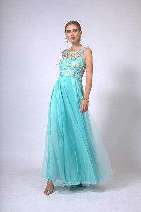 Sky blue embroidered tulle gown