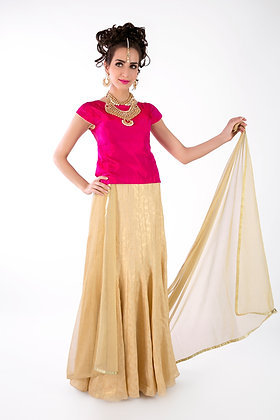 Gold skirt and pink silk top