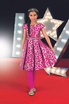 Pink jacquard dress and leggings