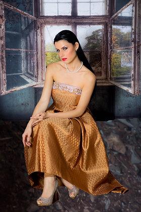 Silk brocade high-low dress and leggings