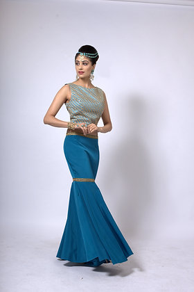 Fishtail skirt with top and dupatta