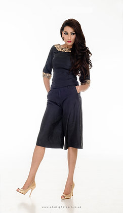 Black silk top and culottes