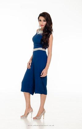 Blue embellished playsuit