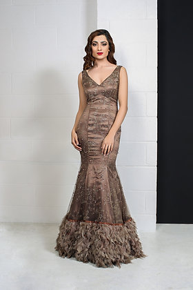 Brown feather fishtail gown